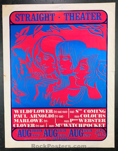AUCTION - Clover 2nd Coming  -  1967 Concert Poster  - Straight Theater - Condition - Excellent