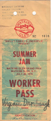 AUCTION - Grateful Dead  Allman Brothers Band - Working Crew Pass - Watkins Glen Summer Jam '73 - Very Good