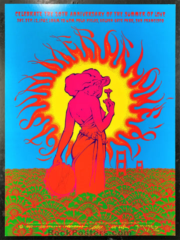 AUCTION - Alton Kelley Collection - Summer of Love 20th Anniversary 1987 Poster - Kelley Signed - Golden Gate Park - Condition - Near Mint Minus