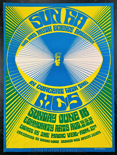 AUCTION -  AOR-3.134 - Sun Ra MC5 - 1967 Poster - Wayne State University - Very Good