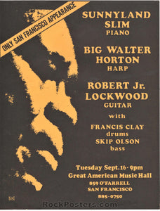AUCTION - AOR-4.27 - Sunnyland Slim - 1975 Handbill - Great American Music Hall - Near Mint