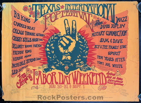 AUCTION - Texas Pop Festival - Led Zeppelin Janis Joplin CSNY 1969 Poster - 1st State Original - Condition - Rough