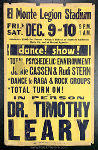 AUCTION - Timothy Leary - Psychedelic Environment LA 1966  Board Poster - Condition - Rough