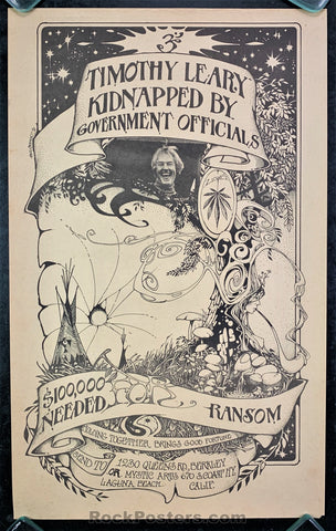 AUCTION - Timothy Leary - Kidnapped Brotherhood of Eternal Love 1970 Bill Ogden Poster - Condition - Excellent