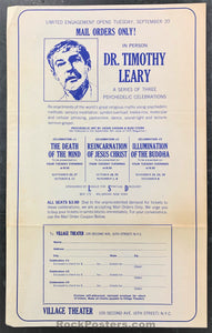 AUCTION - DRUGS - LSD Timothy Leary 1966 NYC Psychedelic Celebration Handbill - Village Theater - Condition - Excellent