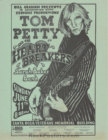 AUCTION - Tom Petty - 1978 Concert Handbill - Santa Rosa  - Excellent