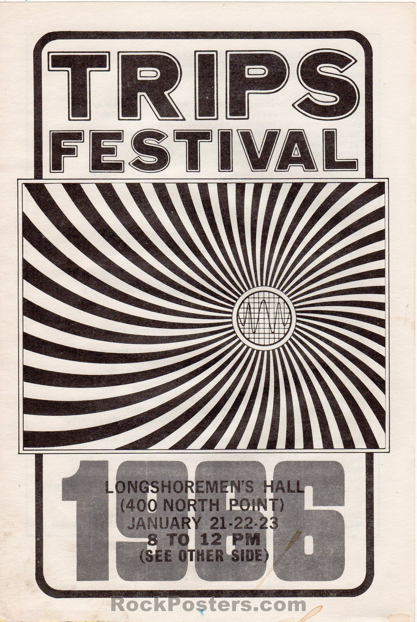 AUCTION - AOR 2.42 - LSD Trips Festival Grateful Dead Ken Kesey 2-Sided 1966 Handbill - Longshoremens Hall - Condition - Excellent