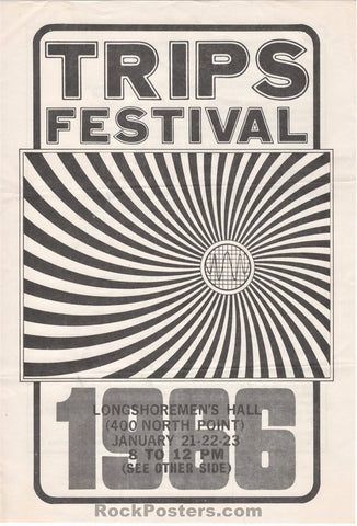 AOR-2.42 - LSD Trips Festival Grateful Dead Ken Kesey 2-Sided 1966 Handbill - Longshoremen's Hall - Condition - Excellent