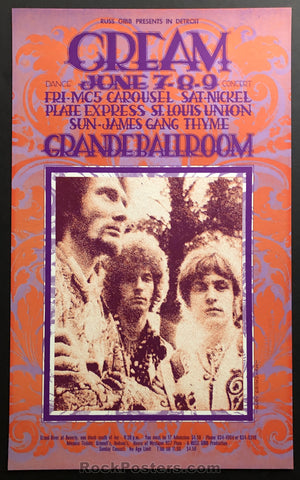 AUCTION -  RARE Cream PAISLEY  -  1968 Original  Gary Grimshaw Poster - Grande Ballroom - Condition - Near Mint