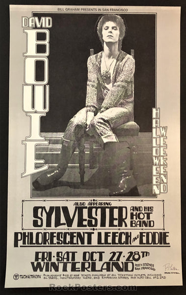 AUCTION - David Bowie - Flo & Eddie Randy Tuten Signed Poster - Winterland - Condition - Mint
