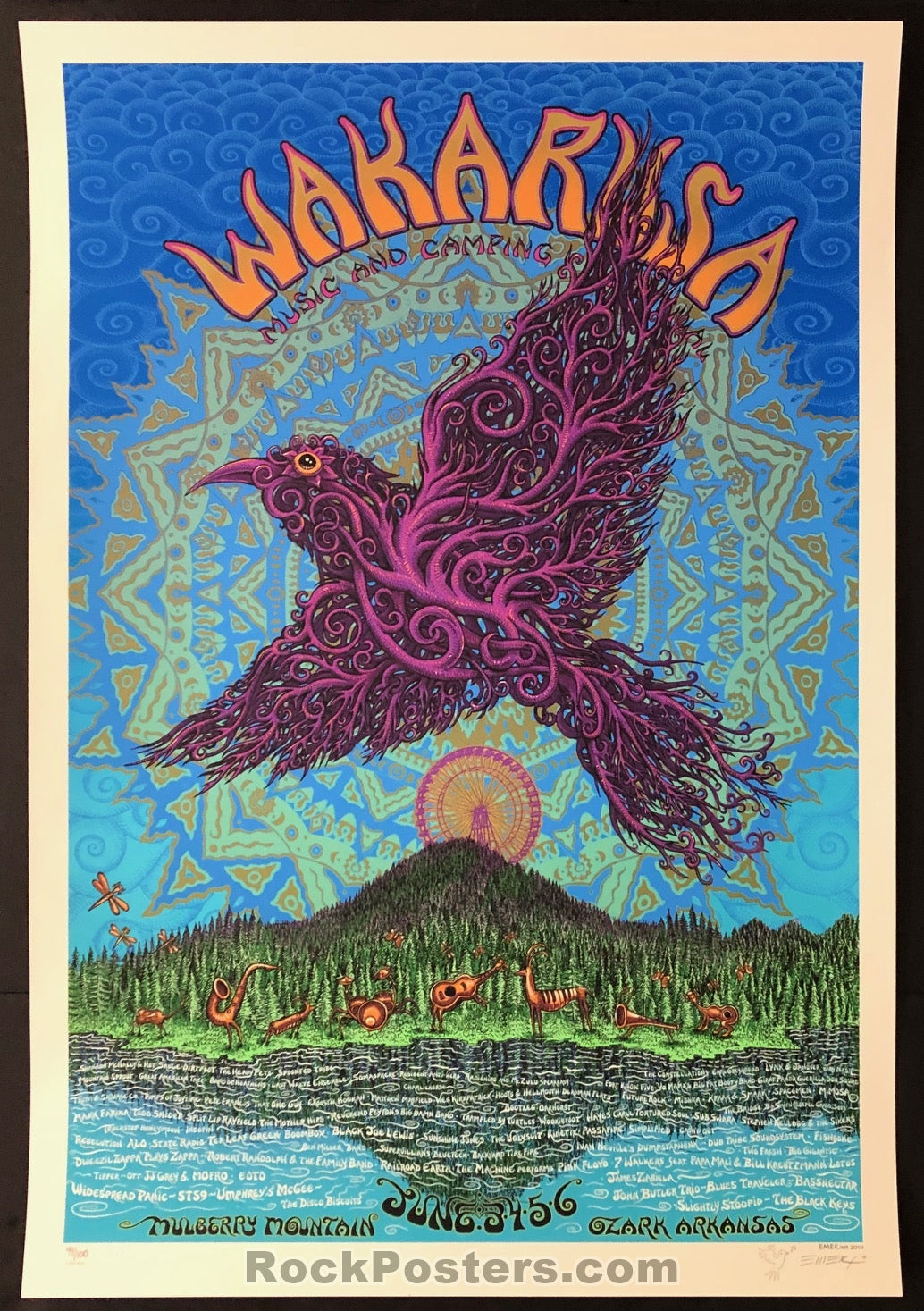 AUCTION - Emek Wakarusa  -  '10 Widespread Panic Silkscreen Poster Cream Edition of 100 - Condition -  Mint