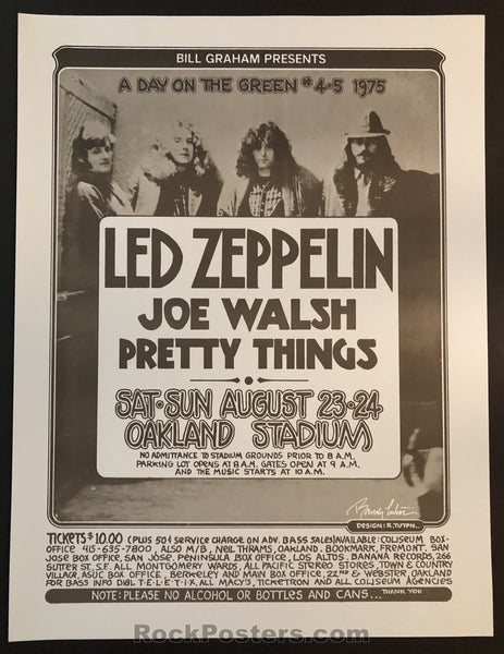 AUCTION - Led Zeppelin Joe Walsh - Original 1975 Signed Randy Tuten Poster - Condition - Near Mint
