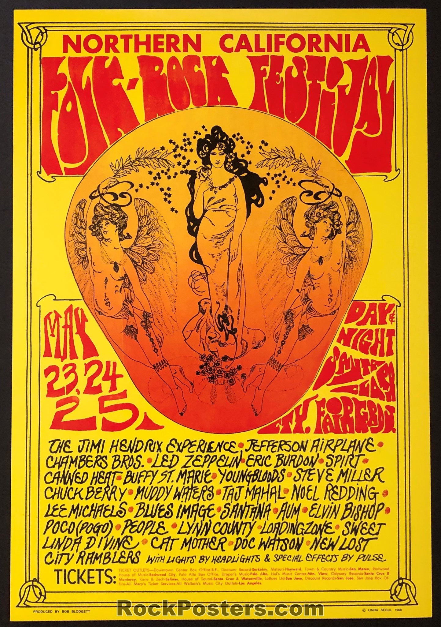 AUCTION - Jimi Hendrix Led Zeppelin 1969 Northern California Folk Rock Festival Fillmore Era Poster  - Santa Clara Fairgrounds - Condition  - Mint