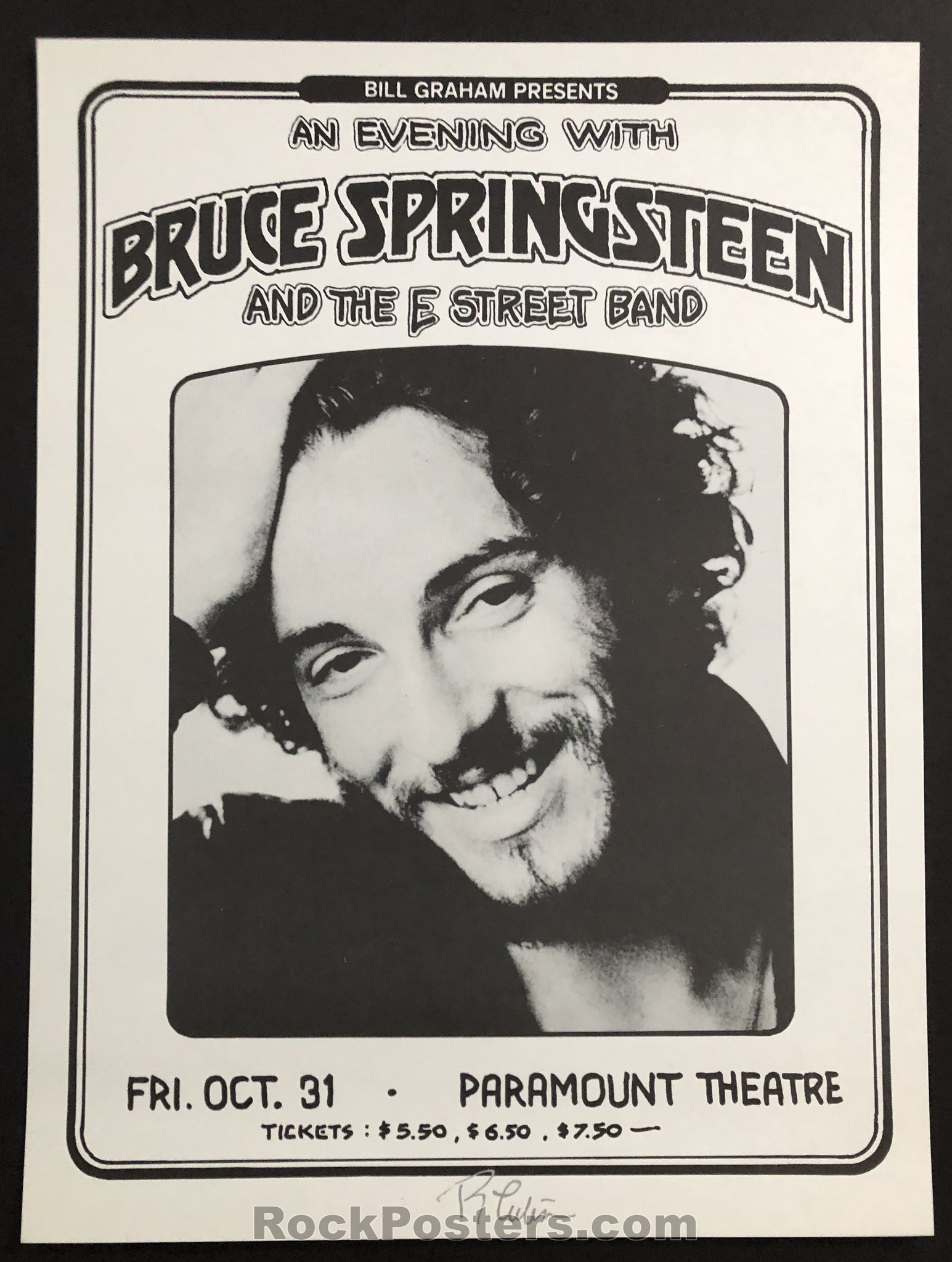 AUCTION - Bruce Springsteen - Oakland 1975 - Signed Original Randy Tuten Poster - Condition - Mint
