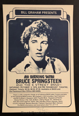 AUCTION - Bruce Springsteen - Oakland 1976 - Signed Original Randy Tuten Poster - Condition - Mint