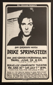 AUCTION - Bruce Springsteen - Berkeley Community Theatre 1978 - Signed Original Randy Tuten Poster - Condition - Mint