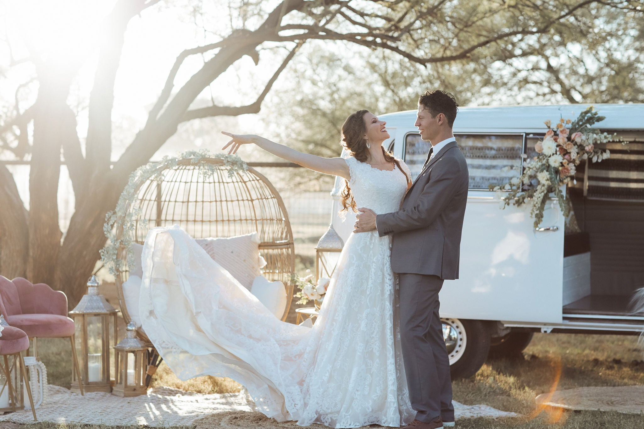 VW Bus Bridals with our Modest Bridal Gown