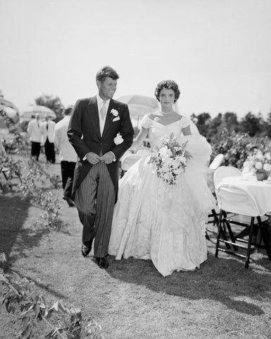 JFK and Jackie wedding day modest ball gown lace