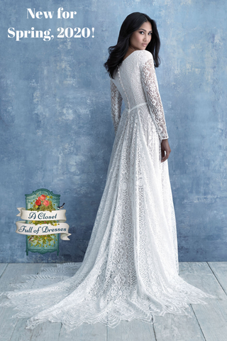 M630 lace train modest wedding dress with long sleeves Boho plus size A-Line