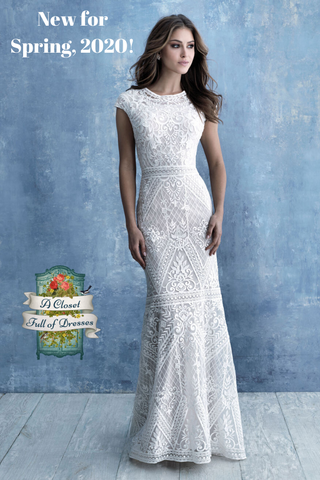 M631 fine lace modest wedding dress with sleeves simple boho