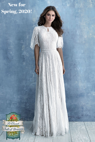 M634 simple modest wedding dress with long sleeves boho plus size