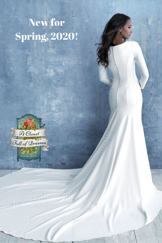 M636 gorgeous crepe train modest wedding dress with long sleeves plus size boho LDS temple bridal