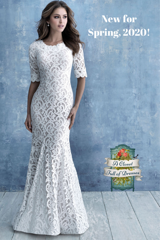 M638 modest lace wedding dress with sleeves boho plus size