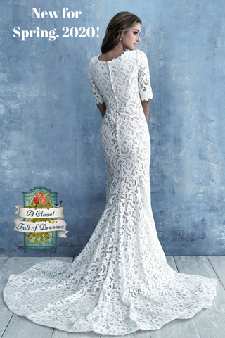 M638 modest lace wedding dress with sleeves boho plus size temple wedding