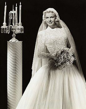 Doris Day modest wedding dress with sleeves