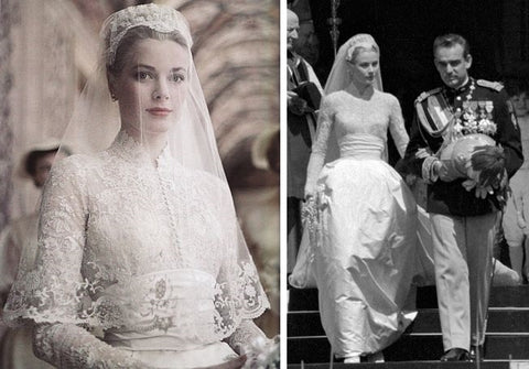 Princes Grace Kelly on her wedding day with modest wedding dress lace sleeves