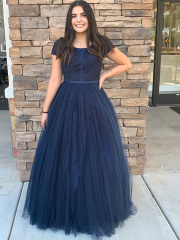 MJ19-260 navy modest prom dress with sleeves LDS mormon for plus size