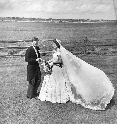 Jack and Jackie Kennedy wedding day modest bridal ball gown gorgeous