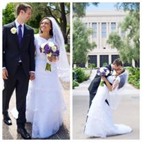 eda92139f7b Jasmine found a gorgeous Venus Bridal gown at A Closet Full of Dresses. She  later became one of our lovely bridal consultants! Her modest wedding dress  had ...