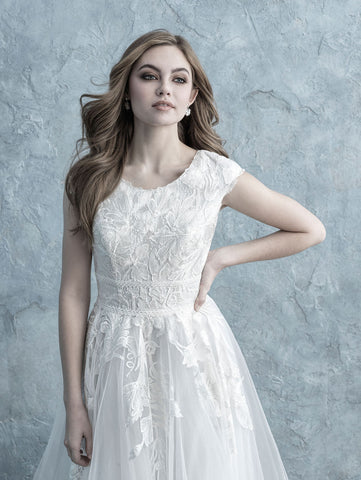 Allure Bridals Modest Collection lace modest wedding dress with sleeves