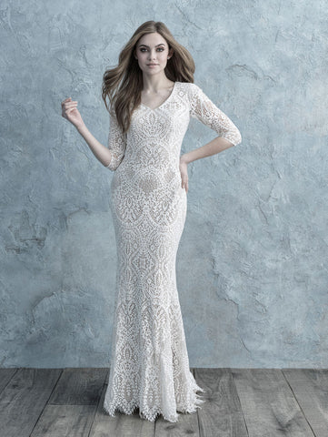 lace modest wedding dress illusion sleeves for plus size