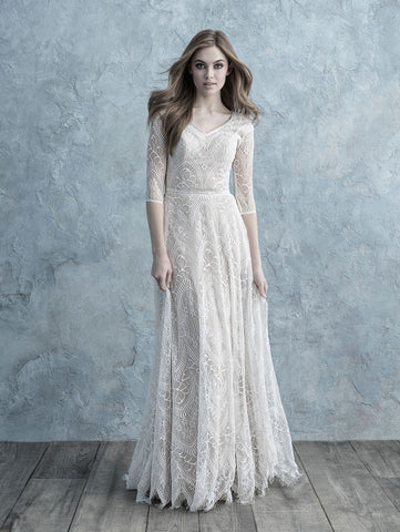 allure bridals modest wedding dress with long lace sleeves cheap LDS bridal gown for plus size