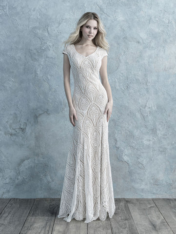 gorgeous lovely lace modest wedding dress from Allure Bridals cheap for plus size