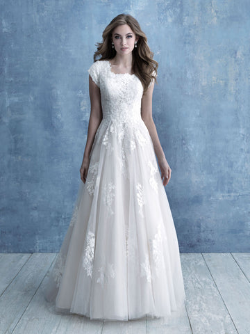 Allure Bridals M639 Modest Wedding Dress with sleeves LDS cheap bridal gown