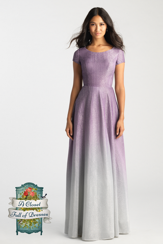 A-Line shimmering modest prom dress with sleeves purple to grey LDS formal gown