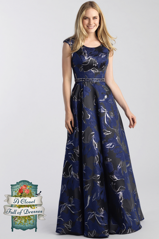 Black Green Floral modest prom dress with sleeves LDS formal gown for plus size