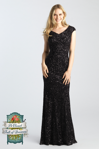 Black Sparkle A-Line modest prom dress with sleeves LDS formal gown for plus size