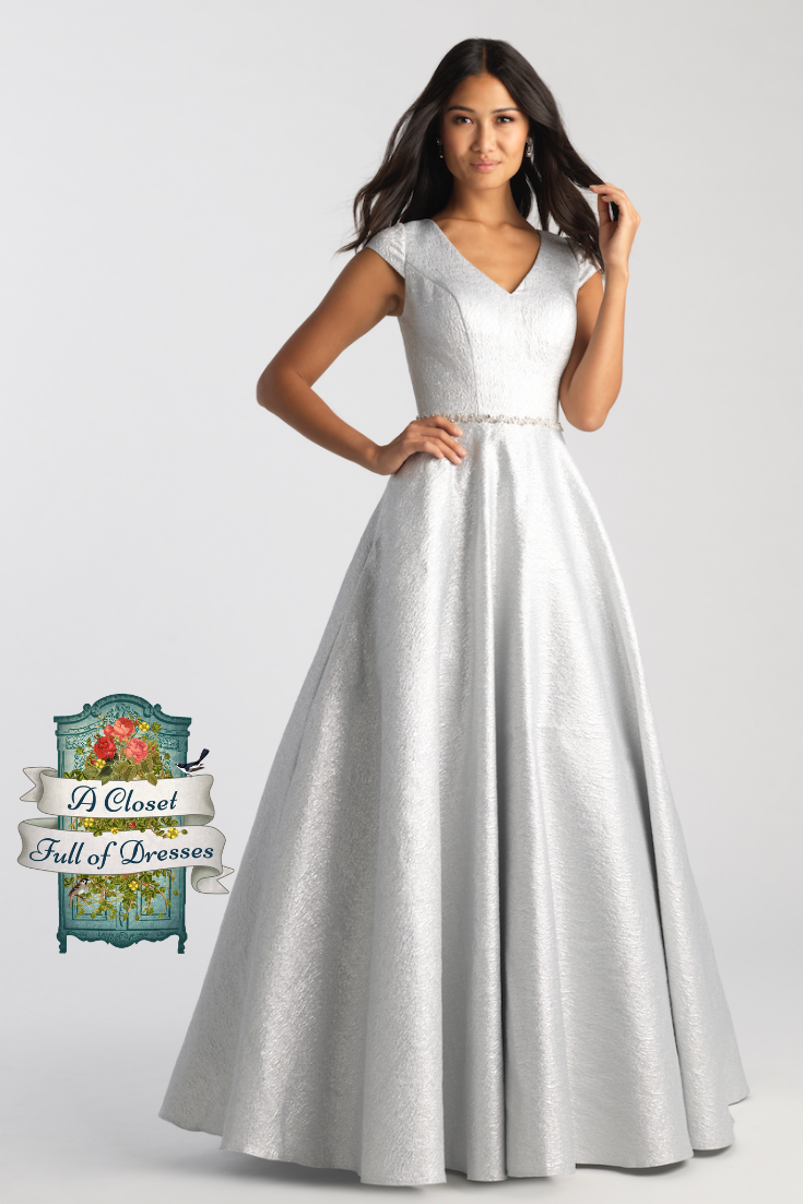 full ball gown modest prom dress with sleeves shimmering silver