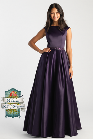 Purple ball gown modest prom dress with sleeves plus size mormon