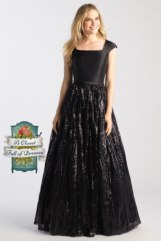 black ball gown for modest prom with sleeves