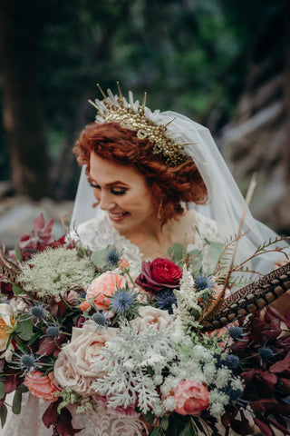 glorious crown on modest bride