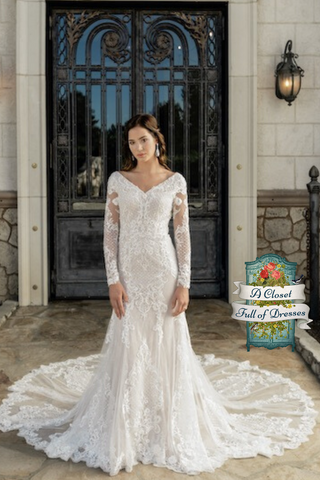 T2081Z all lace A-Line modest wedding dress with sleeves beautiful LDS temple bridal gown
