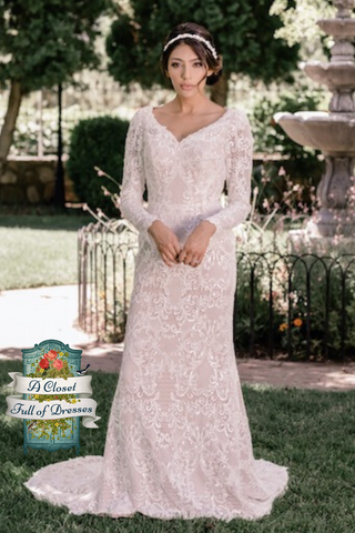 T2085Z sweetheart neckline modest wedding dress with long illusion lace sleeves