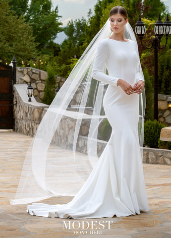 elegant bridal gown modest wedding dresses with sleeves cheap LDS bridal gown for plus size