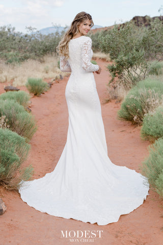 TR12023 modest wedding dress with sleeves back view