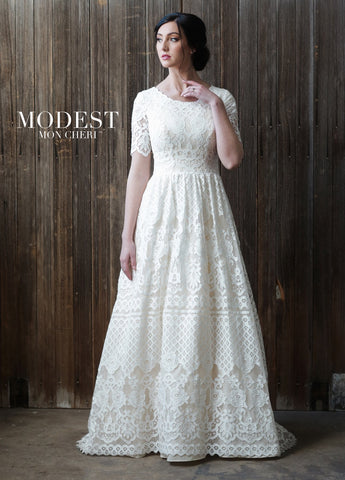 Modest by Mon Cheri TR21864 all lace modest wedding dress with sleeves conservative bridal gown